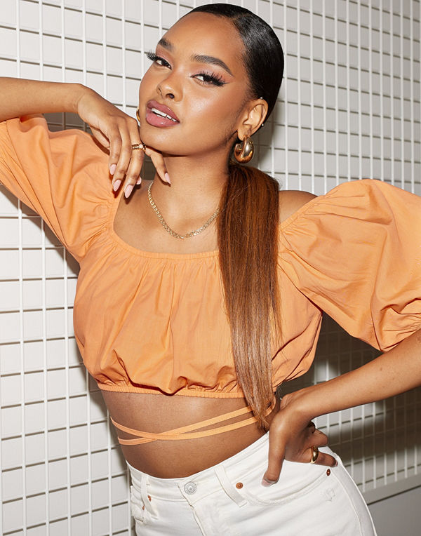 NLY Trend Puffy Tied Waist Top
