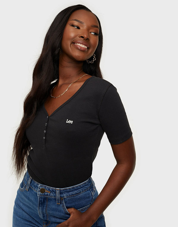 Lee Jeans SS RIB HENLEY WASHED BLACK