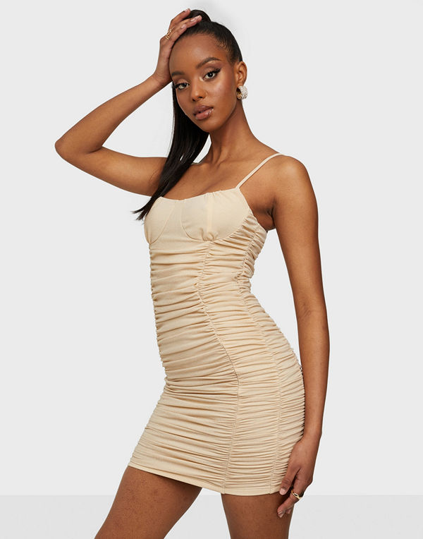 Rare London Slinky Ruched Cup Metallic Dress