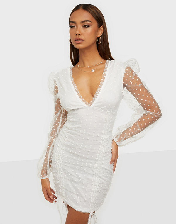 Parisian Polka Dot Mesh Puff Sleeve Dress