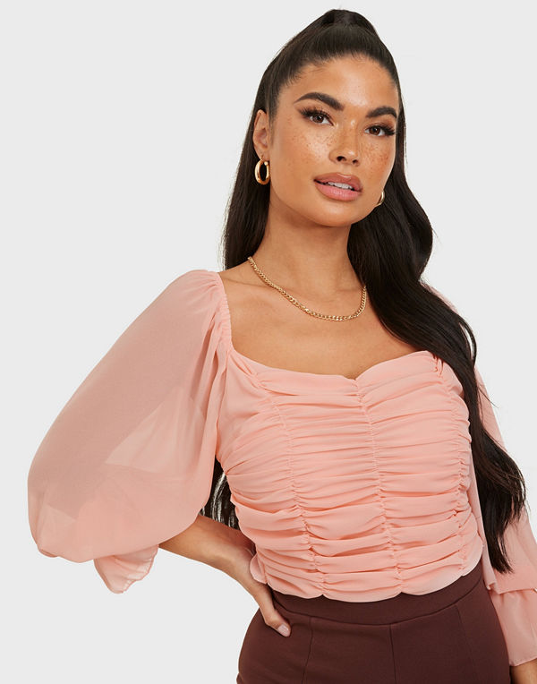Parisian Puff Sleeve Rouched Crop Top