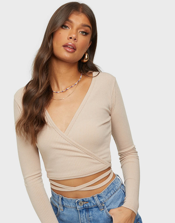 Femme Luxe Wrap Ribbed Top