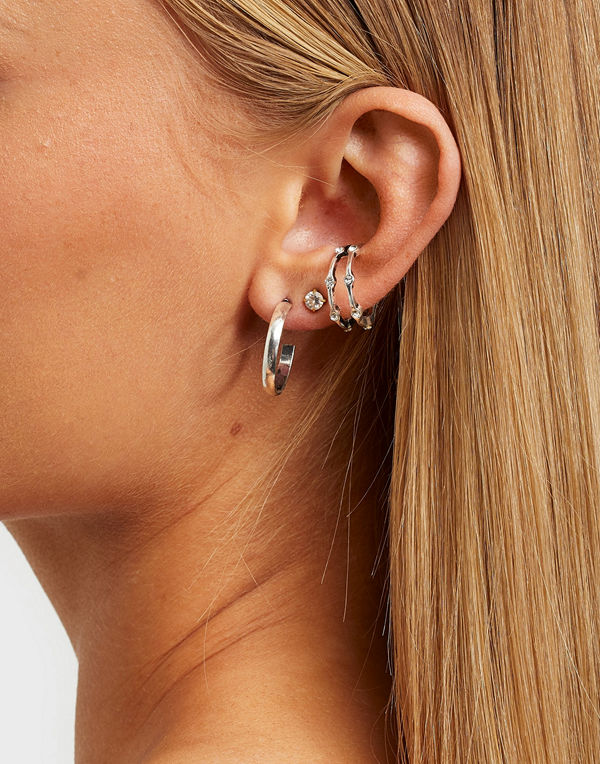 NLY Accessories smycke Silver Eye Pack Earrings
