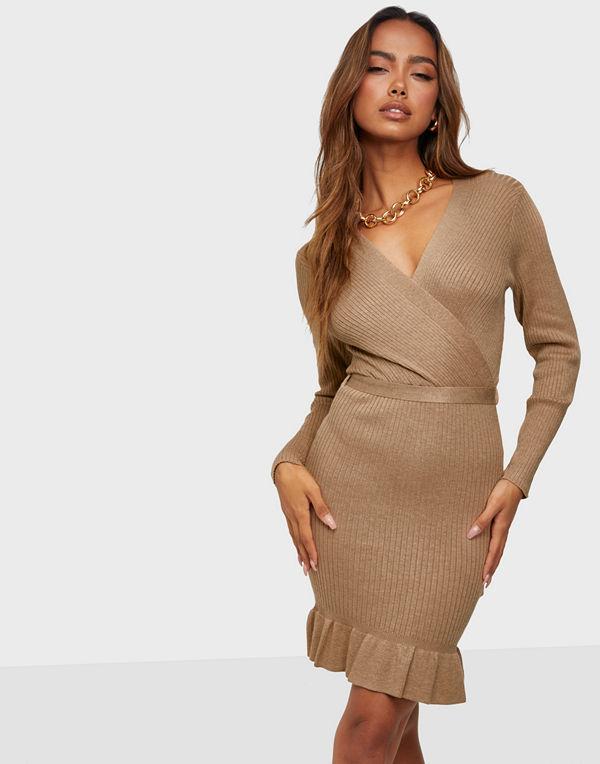 Jacqueline de Yong JDYMOLLIE L/S FRILL DRESS KNT