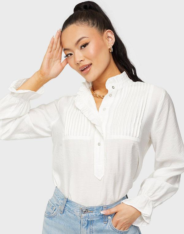 co'couture Callum Pintuck Frill Shirt