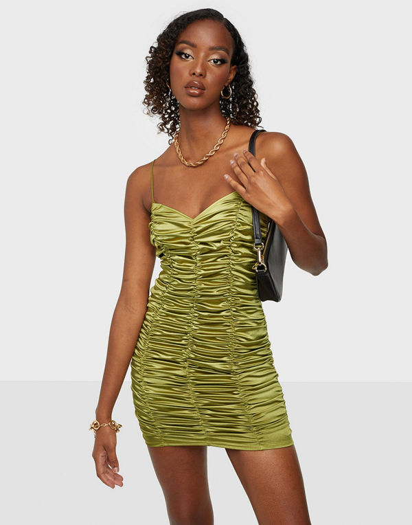 NLY One Ruched Satin Mini Dress