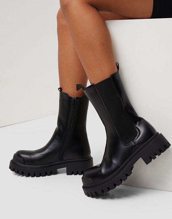 Missguided Pull On Tab Chunky Ankle Boots