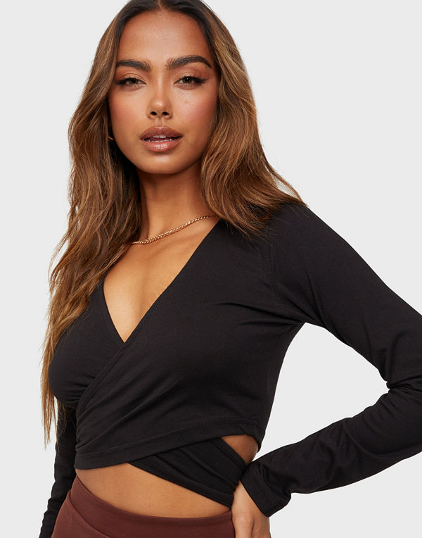 Missguided Long Sleeve Wrap Around Top